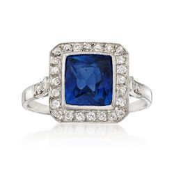 C. 1940 Vintage 2.47 Carat Sapphire and .30 ct. t.w. Diamond Ring in Platinum, , default