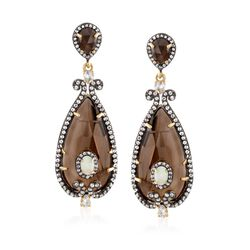 30.00 ct. t.w. Smoky Quartz and 2.70 ct. t.w. White Topaz Drop Earrings With Opal in 18kt Gold Over Sterling , , default