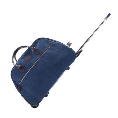 """Brouk & Co. """"Excursion Trolley"""" Faux Blue Leather Rolling Duffel Bag, , default"""