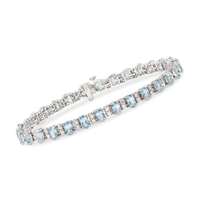 6.25 ct. t.w. Aquamarine and 1.20 ct. t.w. Diamond Bracelet in 14kt White Gold, , default