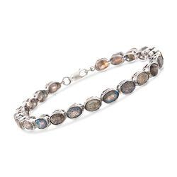 Oval Labradorite Line Bracelet in Sterling Silver, , default