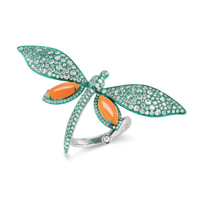 Coral and 3.25 ct. t.w. Diamond Dragonfly Ring in 18kt White Gold with Green Rhodium