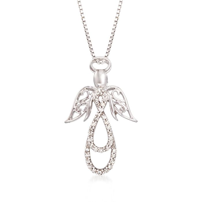 .13 ct. t.w. Diamond Angel Pendant Necklace in Sterling Silver