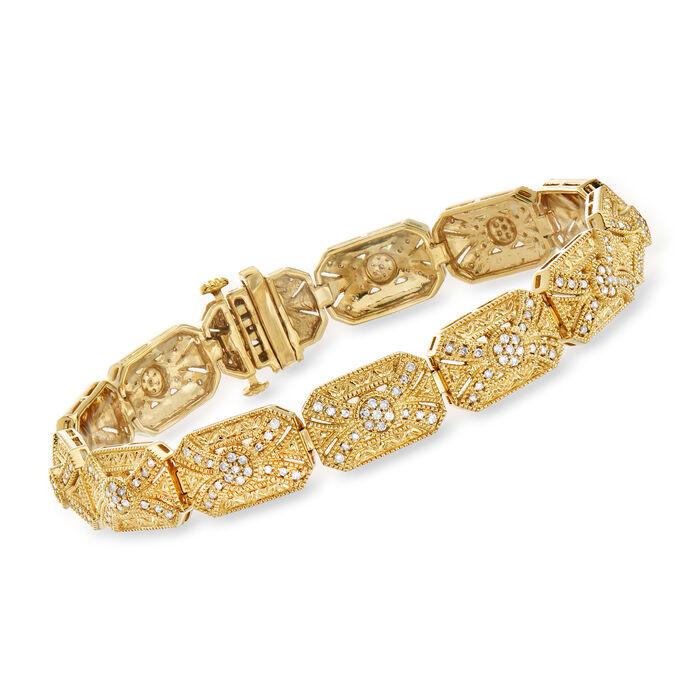1.00 ct. t.w. Diamond Vintage-Inspired Bracelet in 18kt Gold Over Sterling