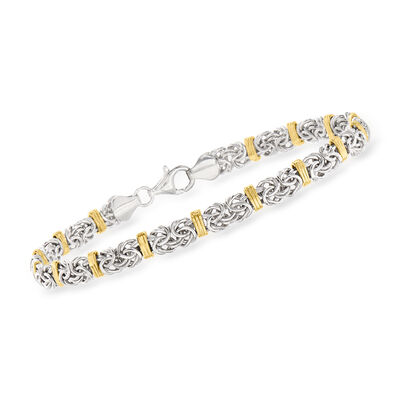Sterling Silver and 14kt Yellow Gold Byzantine Station Bracelet