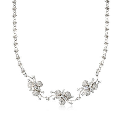 C. 1990 Vintage 4.70 ct. t.w. Diamond Flower Adjustable Necklace in Platinum