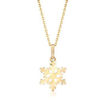 18kt Yellow Gold Snowflake Pendant Necklace, , default