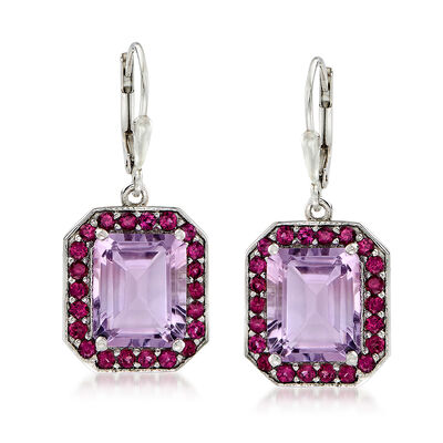 10.00 ct. t.w. Amethyst and 2.10 ct. t.w. Rhodolite Garnet Drop Earrings in Sterling Silver, , default