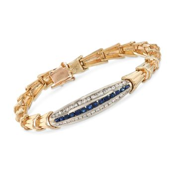 """C. 1970 Vintage .60 ct. t.w. Diamond and .50 ct. t.w. Sapphire Bracelet in 14kt Yellow Gold. 6.75"""", , default"""