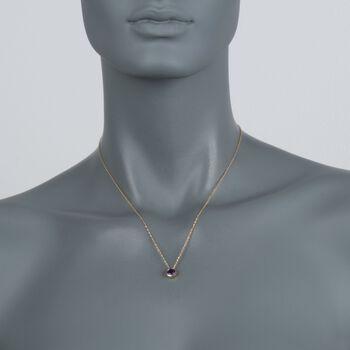 ".70 Carat Bezel-Set Amethyst Pendant Necklace in 14kt Yellow Gold. 18"", , default"