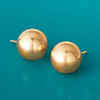 10mm 14kt Yellow Gold Ball Stud Earrings, , default