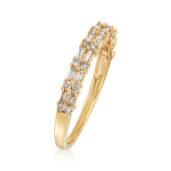 .30 ct. t.w. Round and Rectangular Baguette Diamond Ring in 14kt Yellow Gold