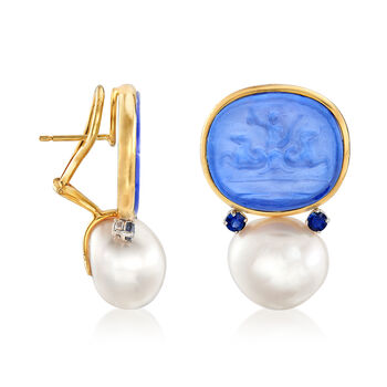 Mazza Mother-Of-Pearl Doublet and Cultured Pearl Earrings with .40 ct. t.w. Sapphires in 14kt Yellow Gold, , default
