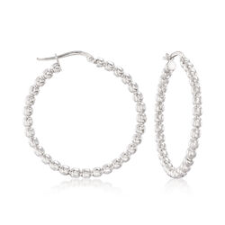 "Italian Sterling Silver Beaded Hoop Earrings. 1 1/2"", , default"