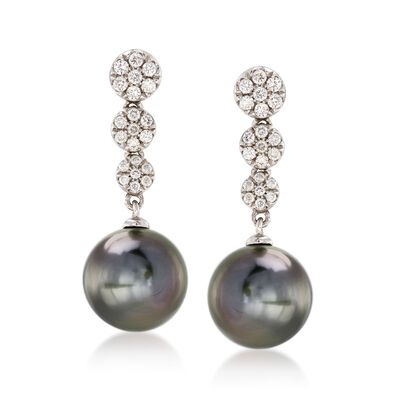 9-9.5mm Black Cultured Tahitian Pearl and .25 ct. t.w. Diamond Drop Earrings in 14kt White Gold, , default