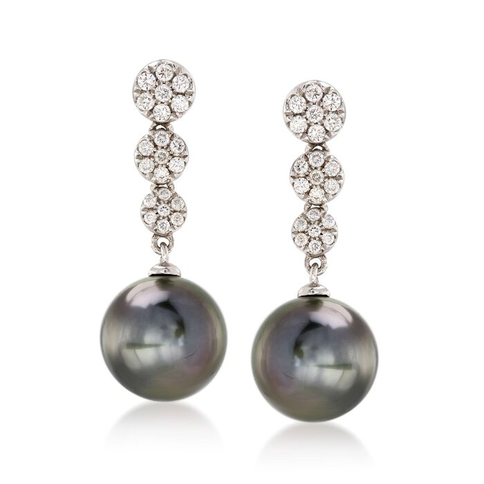 9-9.5mm Black Cultured Tahitian Pearl and .25 ct. t.w. Diamond Drop Earrings in 14kt White Gold