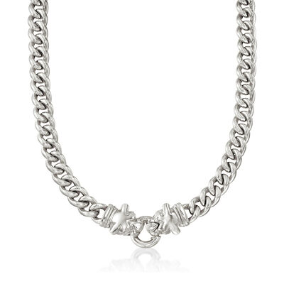 Italian Sterling Silver Double Panther Head Curb-Link Necklace, , default