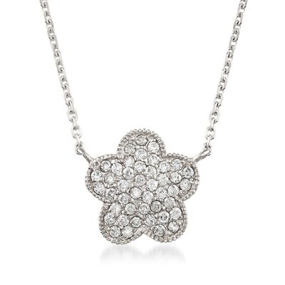 .40 ct. t.w. Diamond Flower Necklace in 14kt White Gold, , default