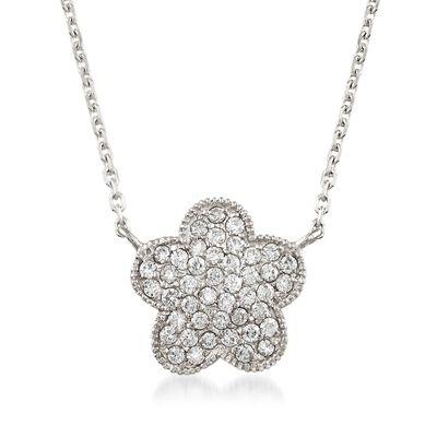 .40 ct. t.w. Diamond Flower Necklace in 14kt White Gold, , default