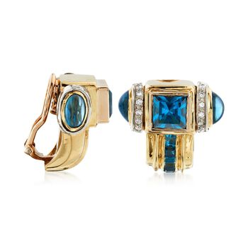 C. 1980 Vintage 8.30 ct. t.w. Blue Topaz and .45 ct. t.w. Diamond Clip-On Earrings in 18kt Yellow Gold, , default