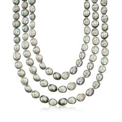 10-11mm Gray Cultured Baroque Pearl Endless Necklace, , default