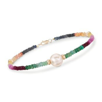 17.50 ct. t.w. Multicolored Sapphire and 9.5-10.5mm Cultured Pearl Bracelet in 14kt Yellow Gold, , default