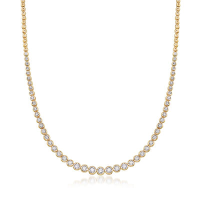 1.50 ct. t.w. Bezel-Set Diamond Necklace in 18kt Gold Over Sterling, , default