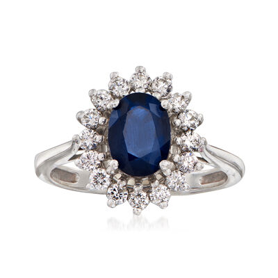 C. 1980 Vintage 1.60 Carat Sapphire and .50 ct. t.w. Diamond Frame Ring in 14kt White Gold, , default