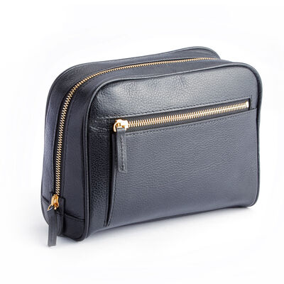 Royce Pebbled Black Leather Toiletry Bag, , default