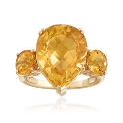 10.00 ct. t.w. Citrine Ring in 14kt Yellow Gold, , default