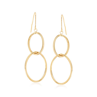 Italian 14kt Yellow Gold Double Oval Drop Hoop Earrings