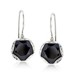 Black Onyx Hexagon Drop Earrings in Sterling Silver, , default