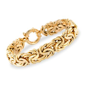 "Italian 14kt Yellow Gold Byzantine Bracelet. 7.5"", , default"