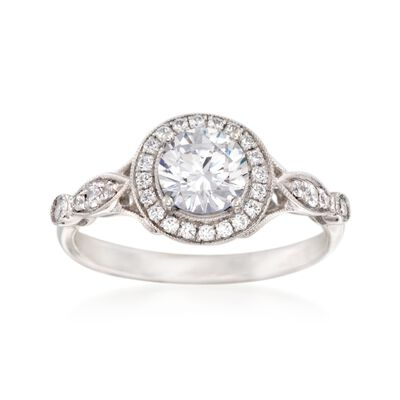 Simon G. .25 ct. t.w. Diamond Halo Engagement Ring Setting in 18kt White Gold