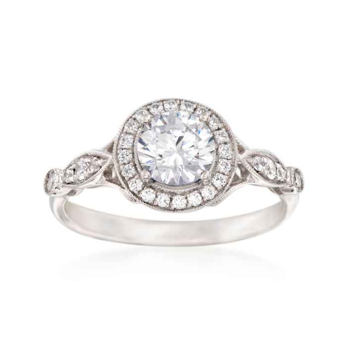 Simon G. .25 ct. t.w. Diamond Halo Engagement Ring Setting in 18kt White Gold, , default