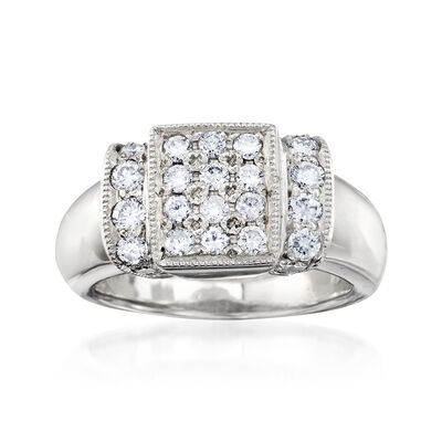 C. 1980 Vintage .80 ct. t.w. Diamond Rectangle Ring in Platinum, , default
