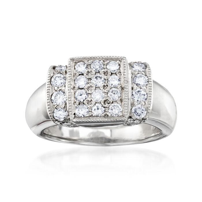 C. 1980 Vintage .80 ct. t.w. Diamond Rectangle Ring in Platinum. Size 6