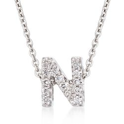 "Roberto Coin ""Tiny Treasures"" Diamond Accent Initial ""N"" Necklace in 18kt White Gold. 16"", , default"