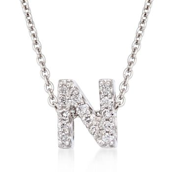 """Roberto Coin """"Tiny Treasures"""" Diamond Accent Initial """"N"""" Necklace in 18kt White Gold. 16"""", , default"""