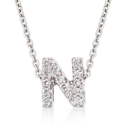 "Roberto Coin ""Tiny Treasures"" Diamond Accent Initial ""N"" Necklace in 18kt White Gold, , default"