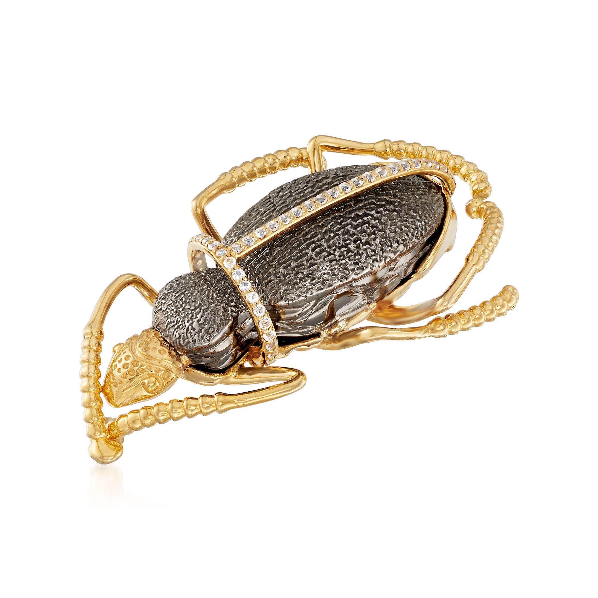 t.w Ross-Simons 0.40 ct White Topaz Bug Pin in 18kt Gold Over Sterling