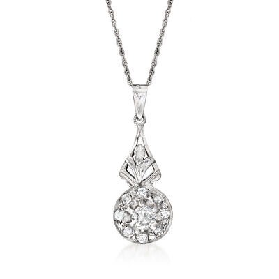 C. 1950 Vintage .80 ct. t.w. Diamond Pendant Necklace in 18kt White Gold