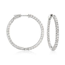 "2.75 ct. t.w. Diamond Inside-Outside Hoop Earrings in 14kt White Gold. 1 1/4"", , default"
