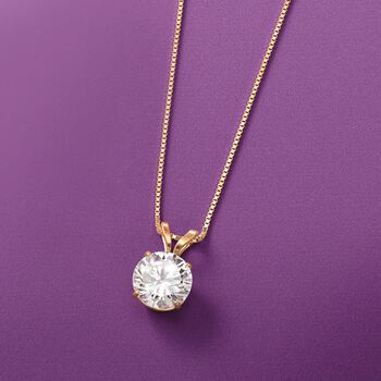 "1.00 Carat CZ Solitaire Necklace in 14kt Yellow Gold. 18"", , default"