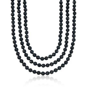 "8-8.5mm Black Onyx Endless Necklace. 64"", , default"