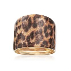Italian 14kt Yellow Gold Ring With Leopard Print Enamel, , default
