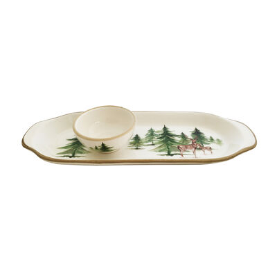 "Abbiamo Tutto Italian ""Woodlands"" Ceramic Set: Narrow Tray and Mini Dipping Bowl, , default"