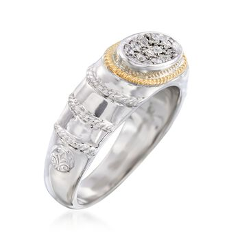 """Andrea Candela """"Eco"""" .15 ct. t.w. Diamond Ring in 18kt Yellow Gold and Sterling Silver. Size 7, , default"""