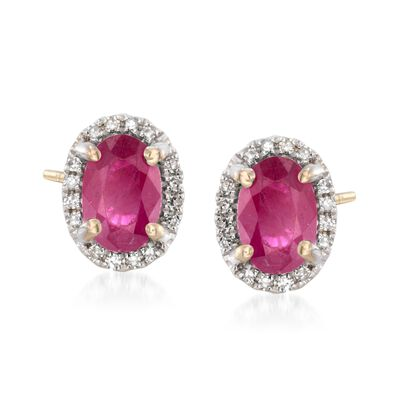 1.10 ct. t.w. Ruby Stud Earrings with Diamond Accents in 14kt Yellow Gold, , default