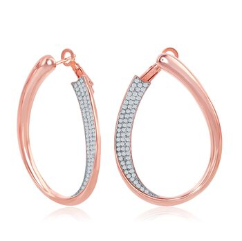 """.65 ct. t.w. Pave CZ Front-Facing Oval Hoop Earrings in 18kt Rose Gold Over Sterling. 1 3/8"""", , default"""